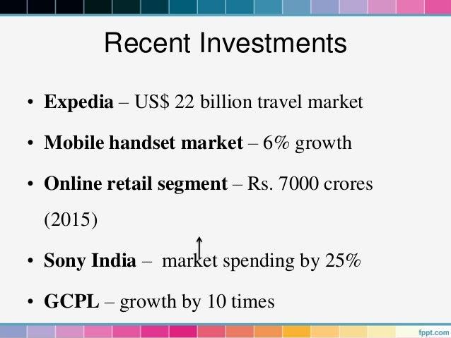 Recent Investments• Expedia – US$ 22 billion travel market• Mobile handset market – 6% growth• Online retail segment – Rs....