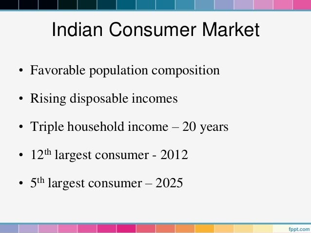 Indian Consumer Market• Favorable population composition• Rising disposable incomes• Triple household income – 20 years• 1...