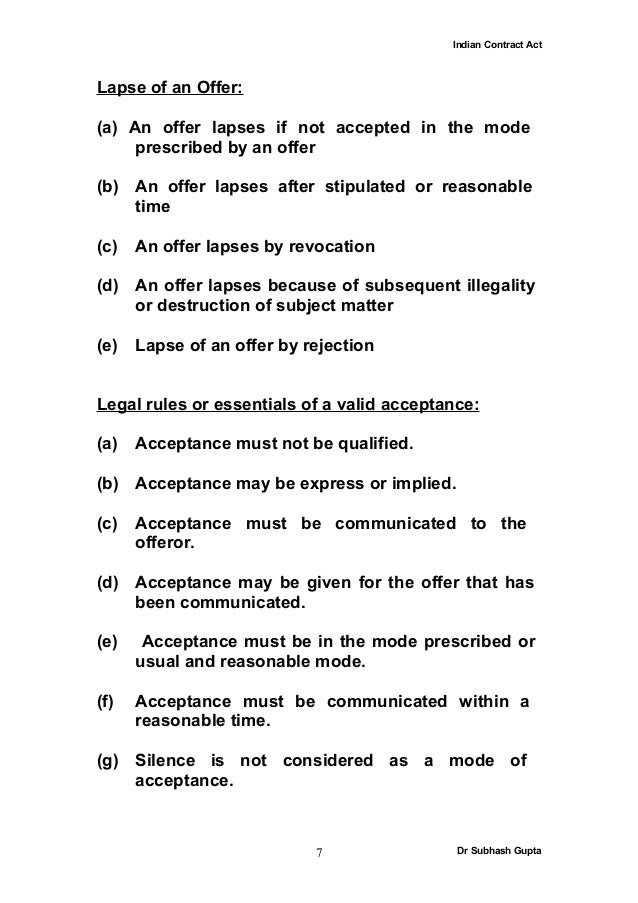 acceptance indian contract act 1982 The indian contract act,1872 act no 9 of 1872 1 [25th april, 1872] of the communication, acceptance and revocation of proposals chapter i threatening to commit, any act forbidden by the indian penal code, or.