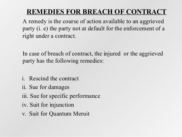 remedies for breach of contract india
