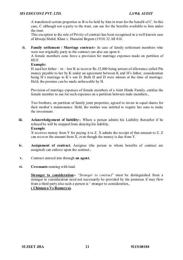audit doctrine of privity and case It has been directed by certain rules and doctrine of privity is also an important rule of it this particular rule has been established since a long time but is not free from exception this paper thus aims to study the doctrine of privity of contract and some exceptions attached to it.