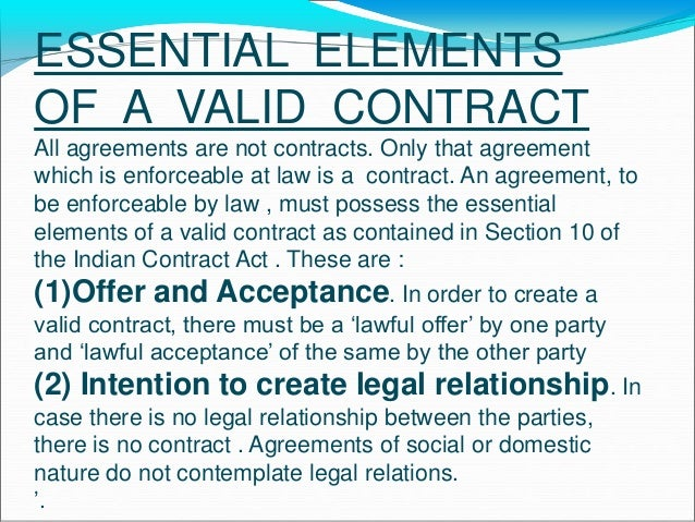 ... Elements Of A Valid Contract Indian Contract Act 1872 By Neeraj  Bhandari Surkhet Nepal Chapter 5 Other Essentials ...