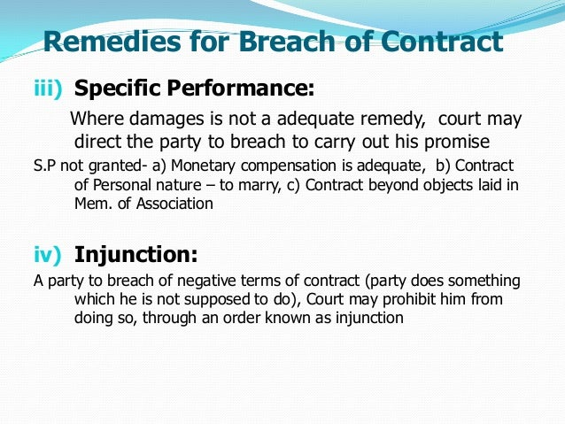 remedies available for breach of contract under the indian contract act 1872 Full text containing the act, indian contract act, 1872, with all the sections, schedules, short title, enactment date, and footnotes.