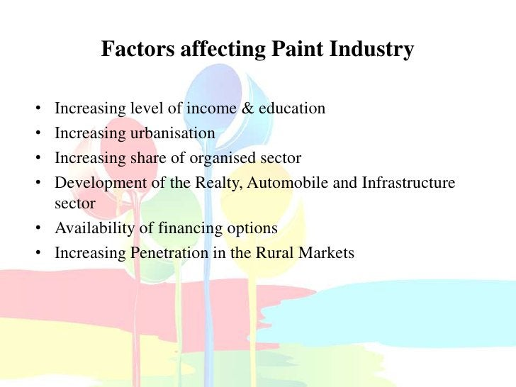 Factors affecting Paint Industry• Increasing level of income & education• Increasing urbanisation• Increasing share of org...