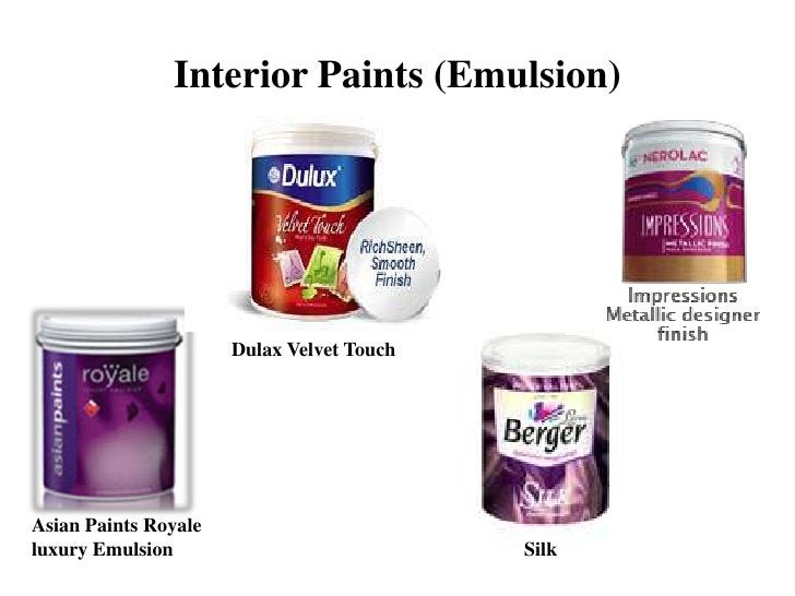 Interior Paints (Emulsion)                      Dulax Velvet TouchAsian Paints Royaleluxury Emulsion                      ...