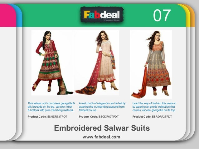 07  This salwar suit comprises georgette & silk brocade on its top, santoon inner & bottom with pure Bamberg material.  A ...