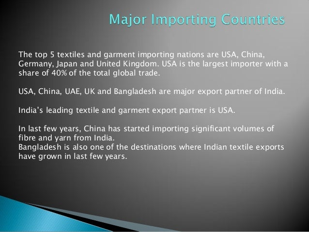 Indian export of textiles &