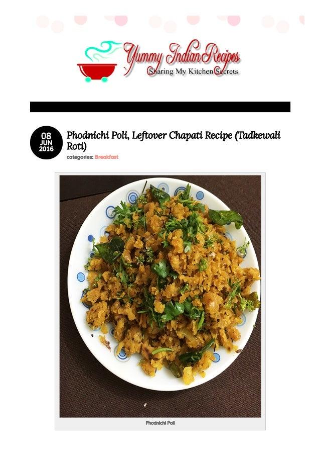 Indian food blog for vegetarian amp non veg recipes yummy indian 0808 junjun 20162016 phodnichi poli leftover chapati recipe tadkewaliphodnichi poli leftover chapati recipe forumfinder Images