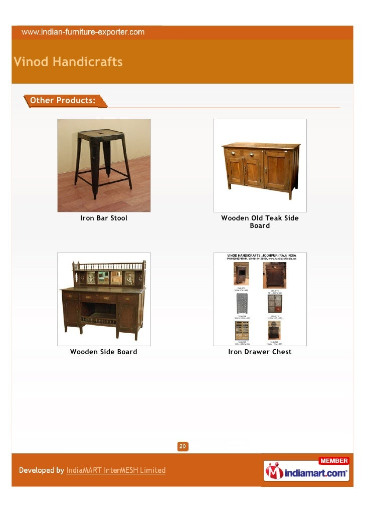 Vinod Handicrafts Jodhpur Iron Industrial Furniture
