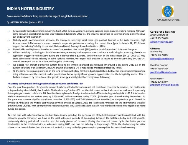 ICRA LIMITED Page 1 of 25 ICRA expects the Indian Hotels industry to finish 2011-12 on a weaker note with subdued pricing ...