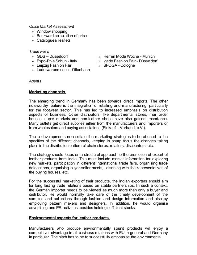 Quick Market Assessment  » Window shopping  » Backward calculation of price  » Catalogues/ leaflets  Trade Fairs  » GDS – ...