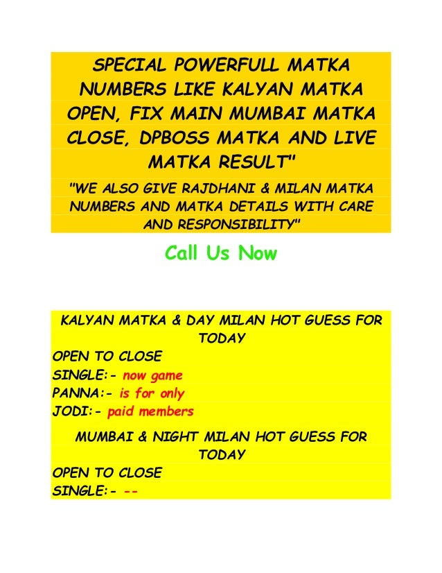 Indianmatka Matka Tips And Matka Results For Kalyan Matka Mumbai Ma