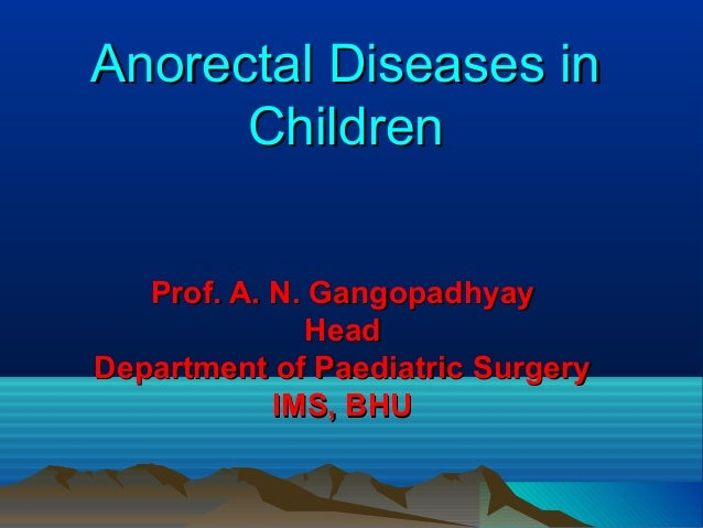 Anorectal Diseases in Children Prof. A. N. Gangopadhyay Head Department of Paediatric Surgery IMS, BHU