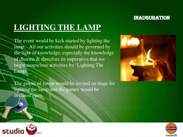 anchoring script for lamp lighting ceremony