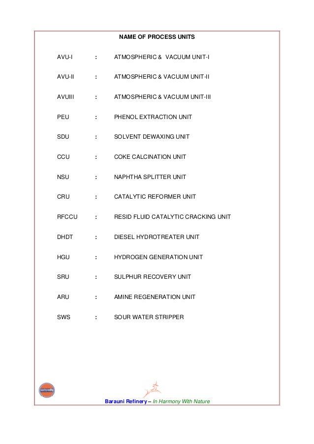 NAME OF PROCESS UNITSAVU-I    :      ATMOSPHERIC & VACUUM UNIT-IAVU-II   :      ATMOSPHERIC & VACUUM UNIT-IIAVUIII   :    ...