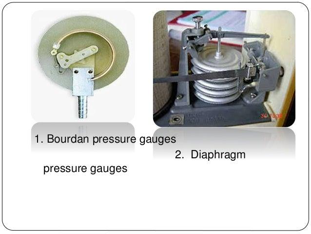 . 1. Bourdan pressure gauges 2. Diaphragm pressure gauges