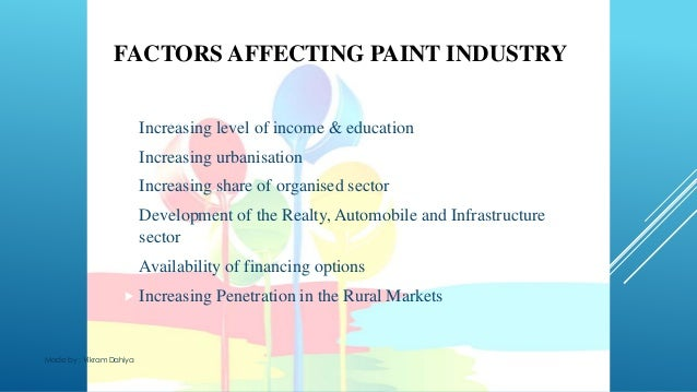 social factor affecting indian paint industry A study of social and ethical issues in banking industry dr ka goyal 1 first part discuss introduction of banking industry in india second part explains a common factor that can be an independent entity.
