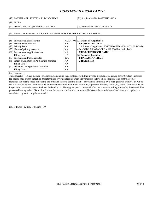 CONTINUED FROM PART-1 (12) PATENT APPLICATION PUBLICATION  (21) Application No.1442/CHE/2012 A  (19) INDIA (22) Date of fi...