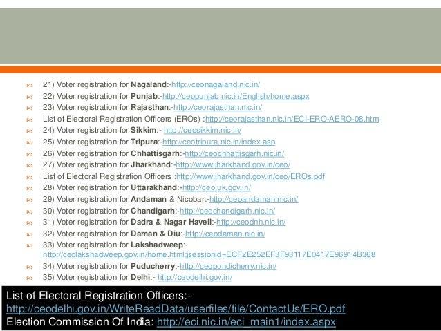  21) Voter registration for Nagaland:-http://ceonagaland.nic.in/  22) Voter registration for Punjab:-http://ceopunjab.ni...