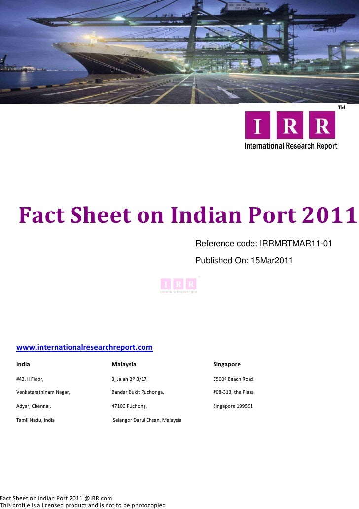 Fact Sheet on Indian Port 2011                                                                           Reference code: I...
