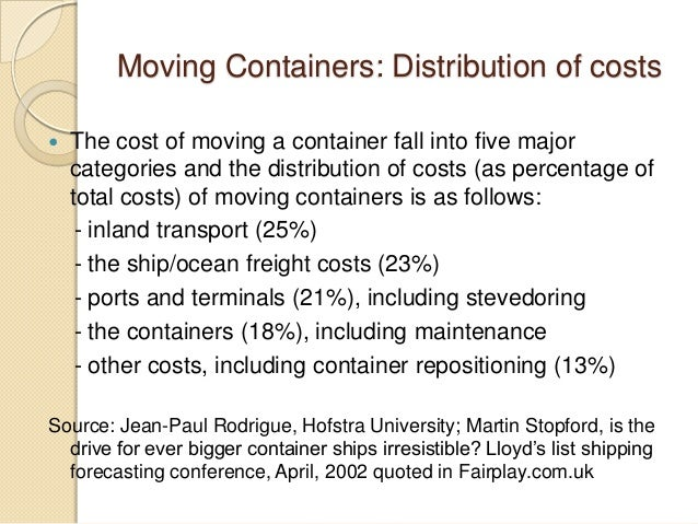 Moving Containers: Distribution of costs  The cost of moving a container fall into five major categories and the distribu...