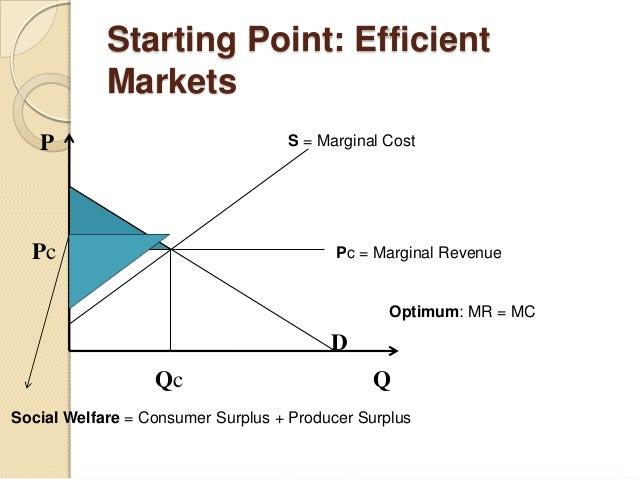 Starting Point: Efficient Markets P Pc Qc Q D S = Marginal Cost Pc = Marginal Revenue Optimum: MR = MC Social Welfare = Co...