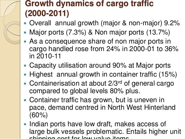 Growth dynamics of cargo traffic (2000-2011)  Overall annual growth (major & non-major) 9.2%  Major ports (7.3%) & Non m...