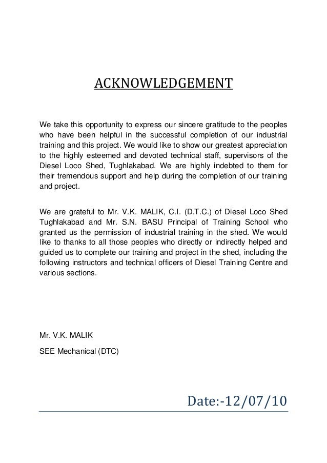acknowledgement sample for industrial training report