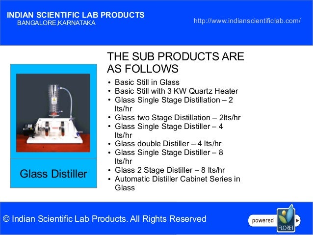 INDIAN SCIENTIFIC LAB PRODUCTS - GLASS DISTILLER Slide 3