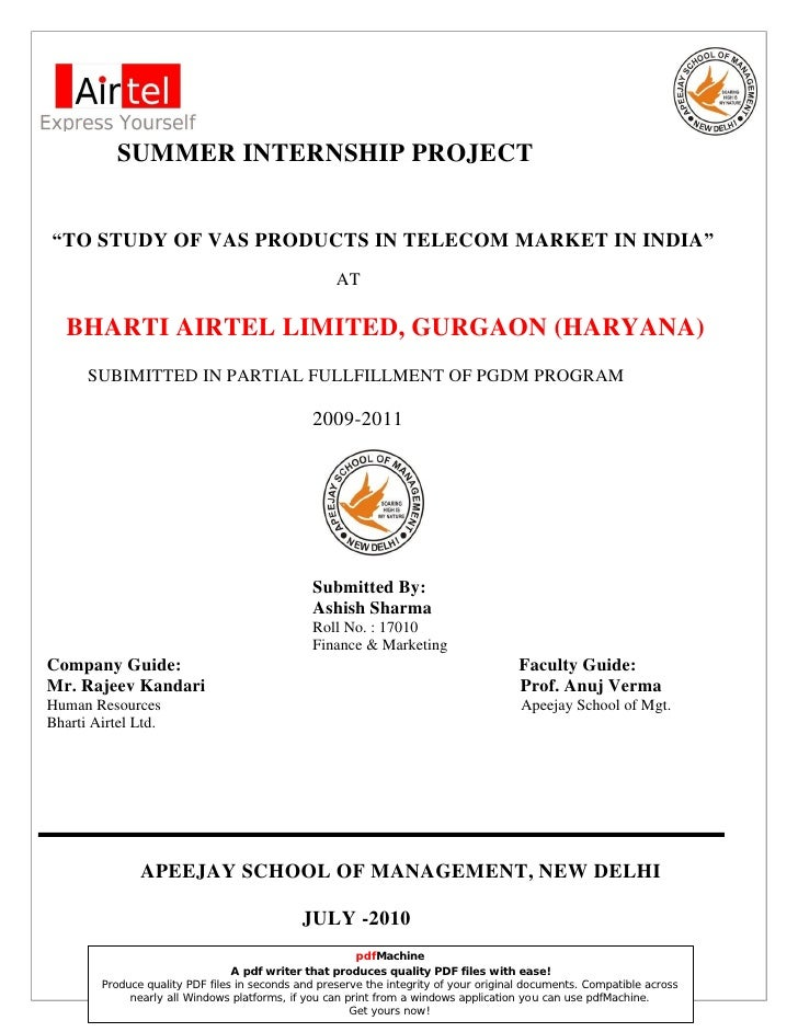 bharti airtel summer internship reports Major project report on ratio analysis of bharti airtel 102326408-summer-internship-project-report-on majorreportonairtel - major project report.