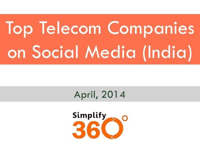 Top Telecom Companies on Social Media (India) April, 2014