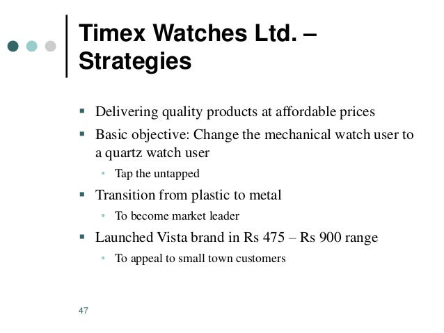 market segmentation timex The timex group luxury division, which manages the watch business  strategy  for the us market designed to meet changing consumer needs  they created  the luxury segment of their business seven years ago and see.