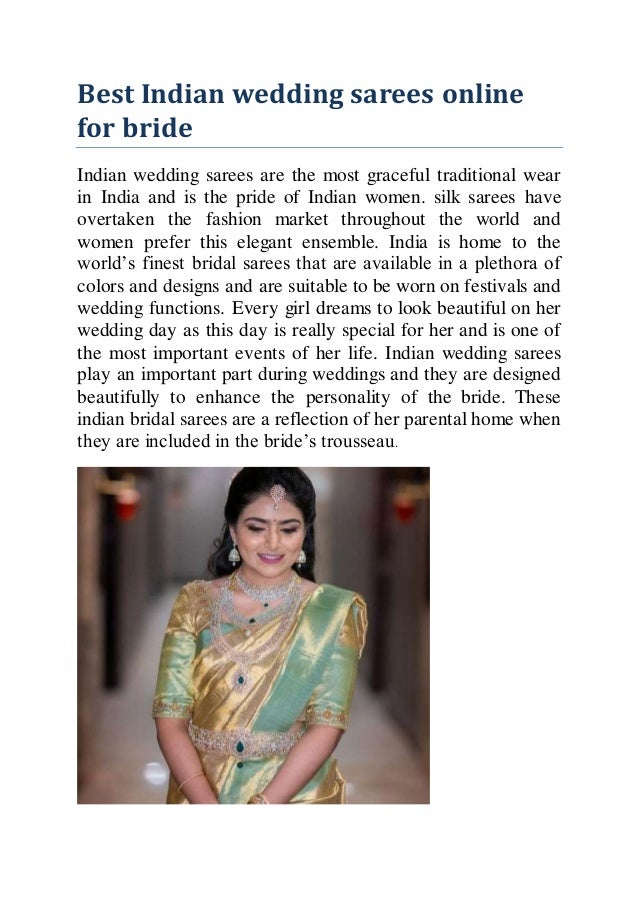 Best Indian wedding sarees online for bride Indian wedding sarees are the most graceful traditional wear in India and is t...