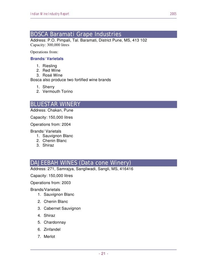 Indian Wine Industry Report                                        2005     BOSCA Baramati Grape Industries Address: P.O. ...