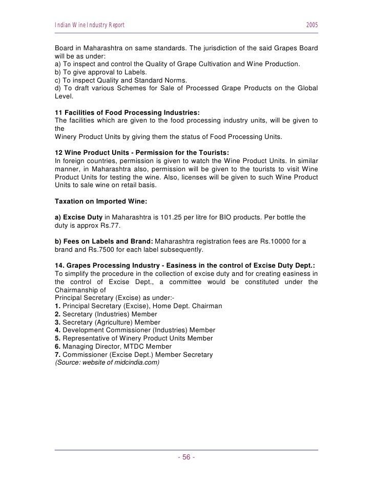 Indian Wine Industry Report                                                          2005   Board in Maharashtra on same s...