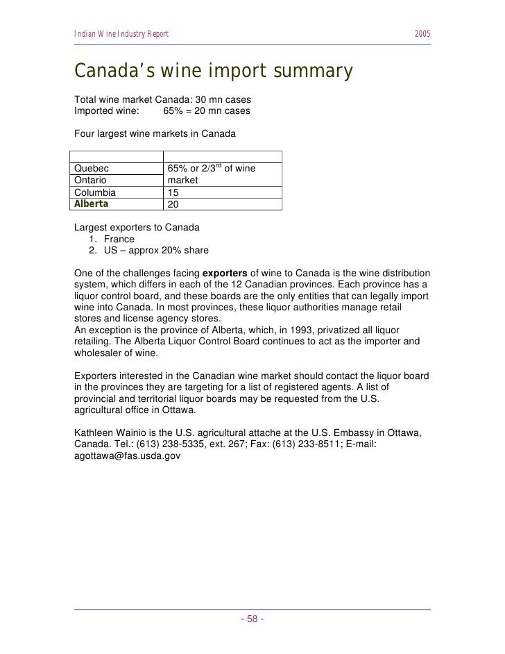 Indian Wine Industry Report                                                     2005    Canada's wine import summary Total...