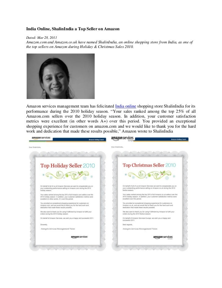 India Online, ShalinIndia a Top Seller on AmazonDated: Mar 28, 2011Amazon.com and Amazon.co.uk have named ShalinIndia, an ...