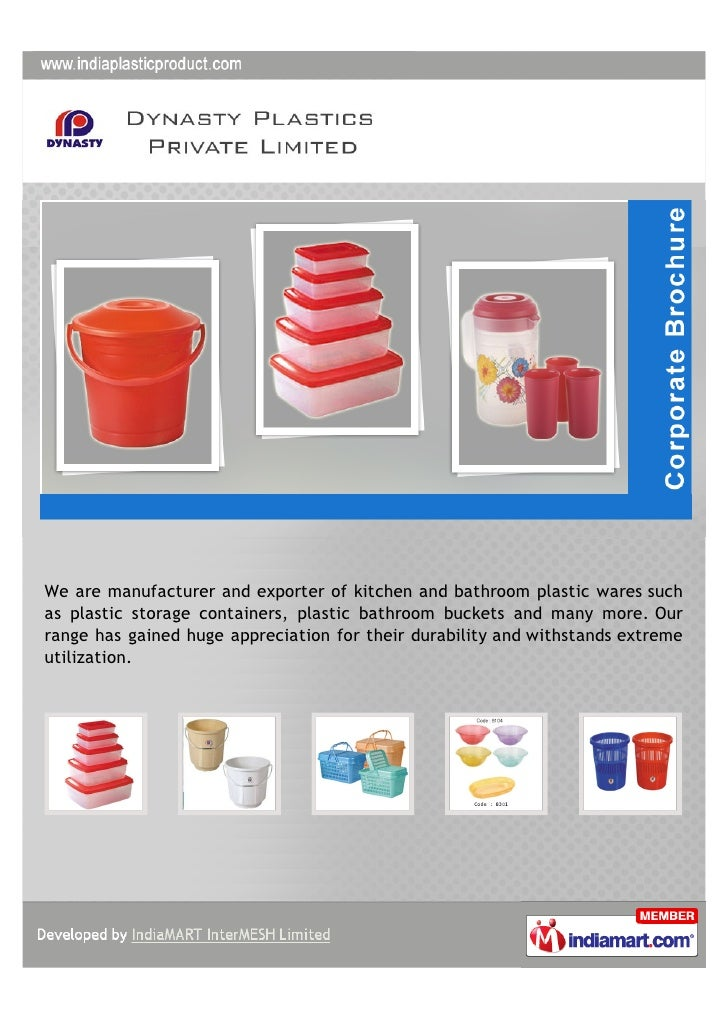 We are manufacturer and exporter of kitchen and bathroom plastic wares suchas plastic storage containers, plastic bathroom...