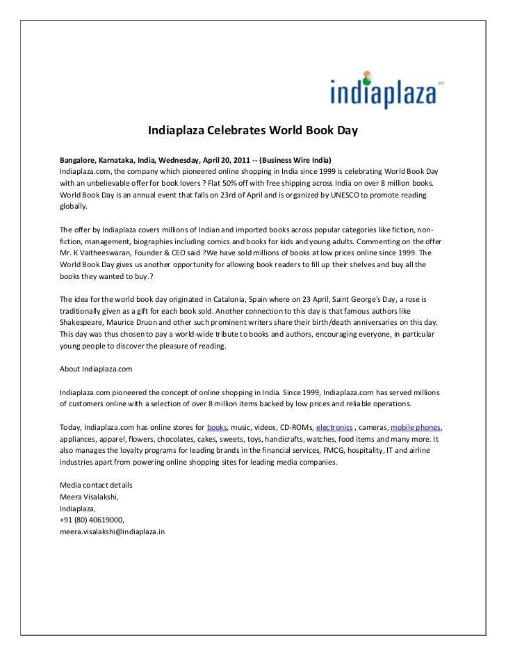 Indiaplaza Celebrates World Book DayBangalore, Karnataka, India, Wednesday, April 20, 2011 -- (Business Wire India)Indiapl...
