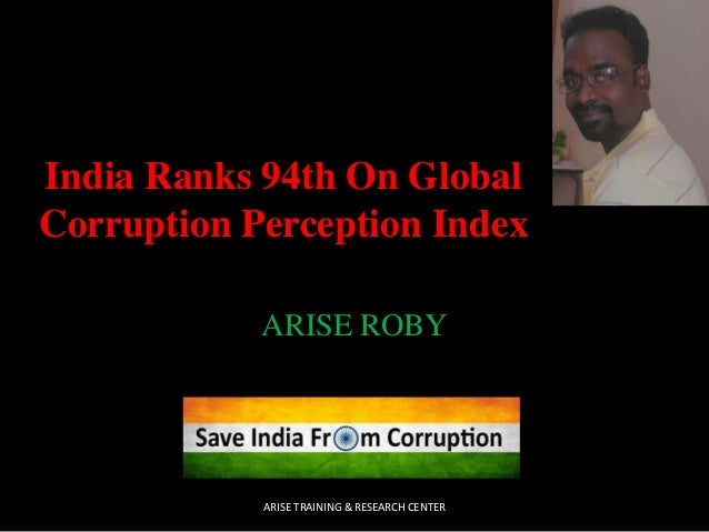 India Ranks 94th On Global Corruption Perception Index ARISE ROBY  ARISE TRAINING & RESEARCH CENTER