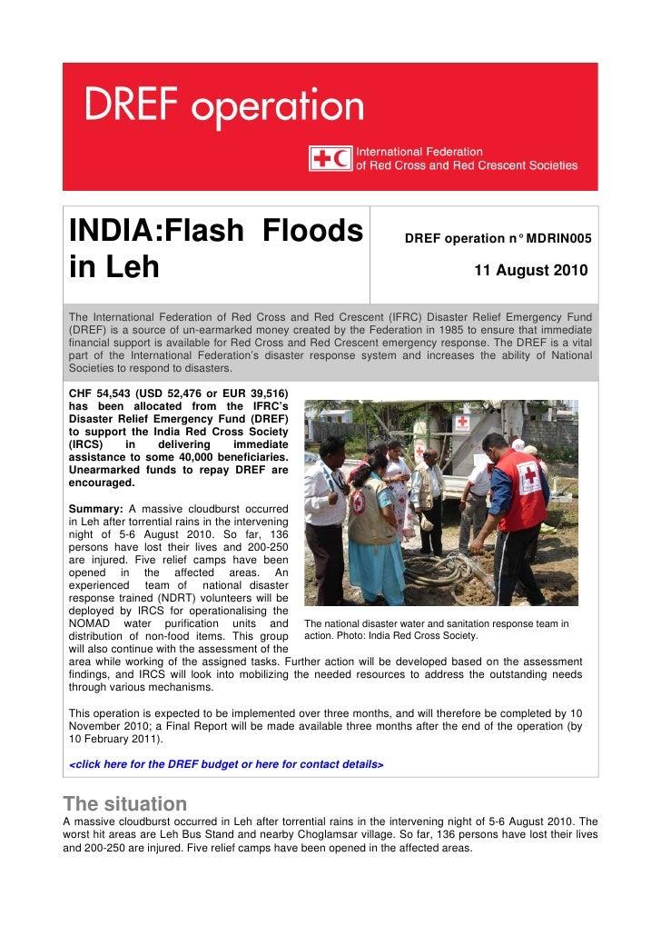INDIA:Flash Floods                                                 DREF operation n° MDRIN005   in Leh                    ...
