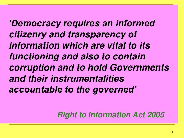 Right to information: knowledge is power