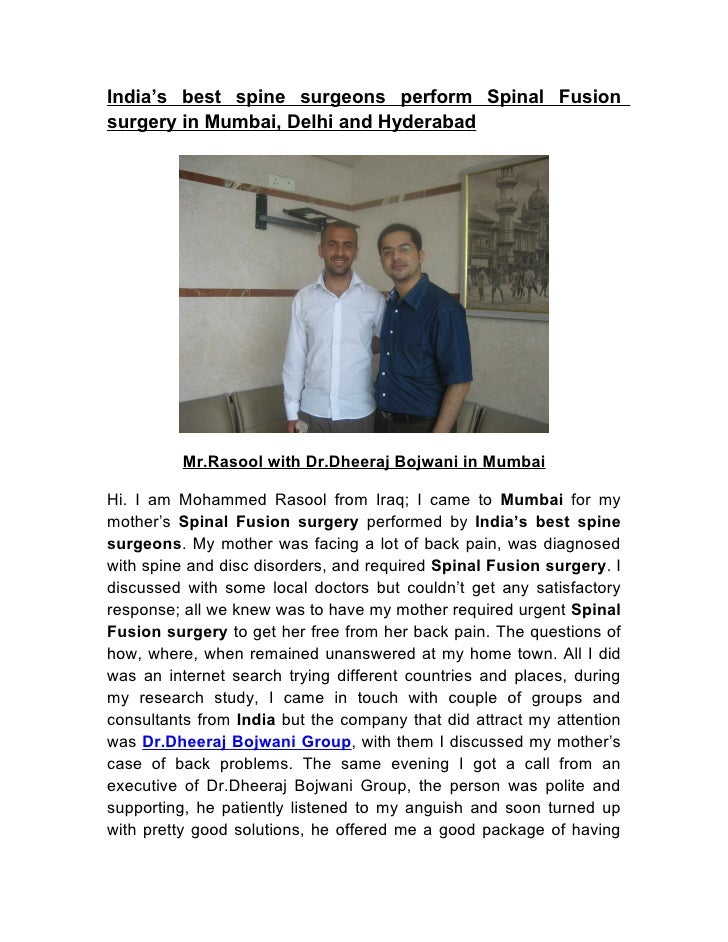 India's best spine surgeons perform Spinal Fusion surgery in Mumbai, Delhi and Hyderabad               Mr.Rasool with Dr.D...