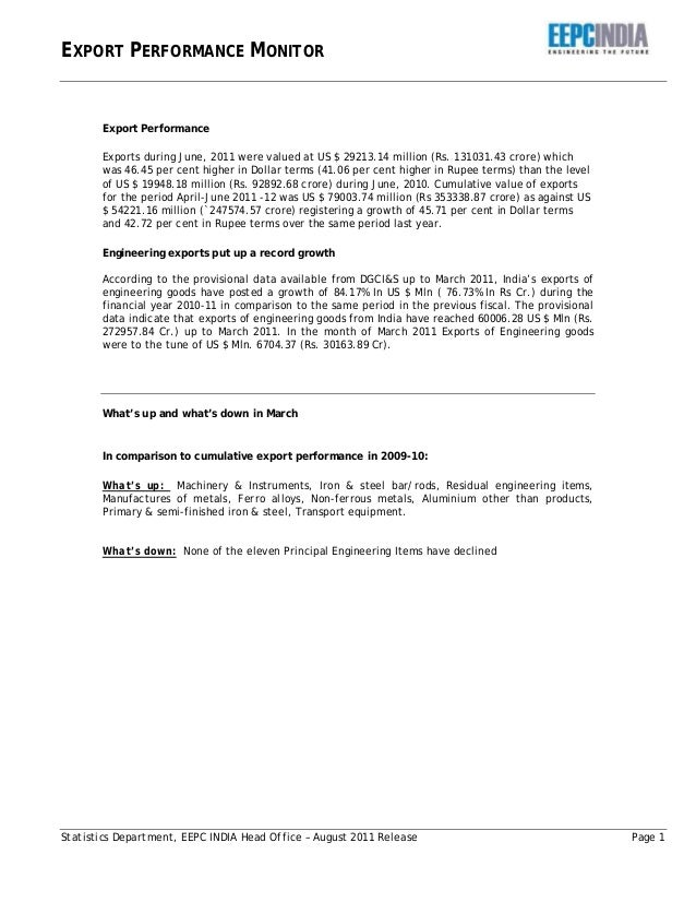 EXPORT PERFORMANCE MONITOR Statistics Department, EEPC INDIA Head Office – August 2011 Release Page 1 Export Performance E...