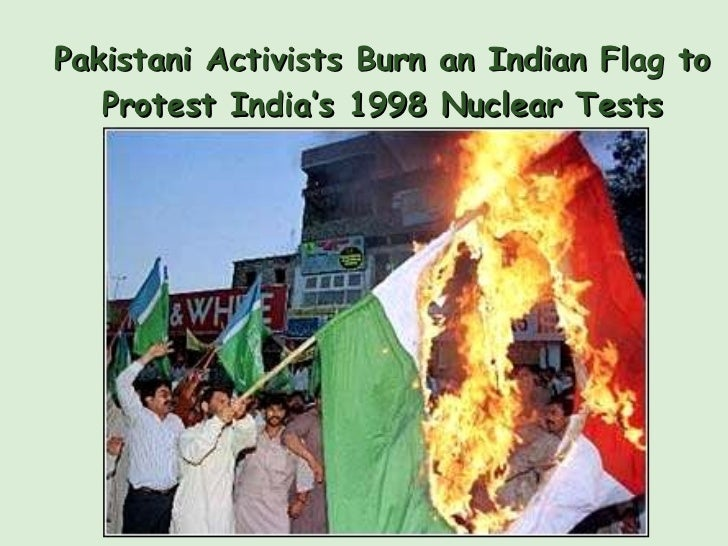 Pakistani Activists Burn an Indian Flag to Protest India's 1998 Nuclear Tests