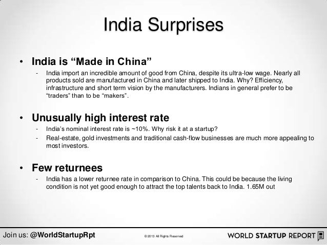 "India Surprises    • India is ""Made in China""        -   India import an incredible amount of good from China, despite its..."