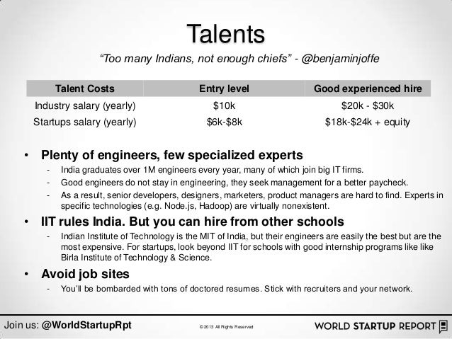 "Talents                       ""Too many Indians, not enough chiefs"" - @benjaminjoffe            Talent Costs              ..."