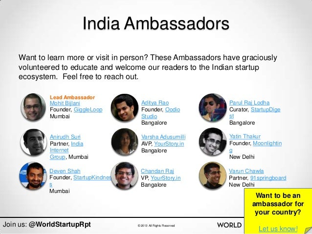 India Ambassadors    Want to learn more or visit in person? These Ambassadors have graciously    volunteered to educate an...
