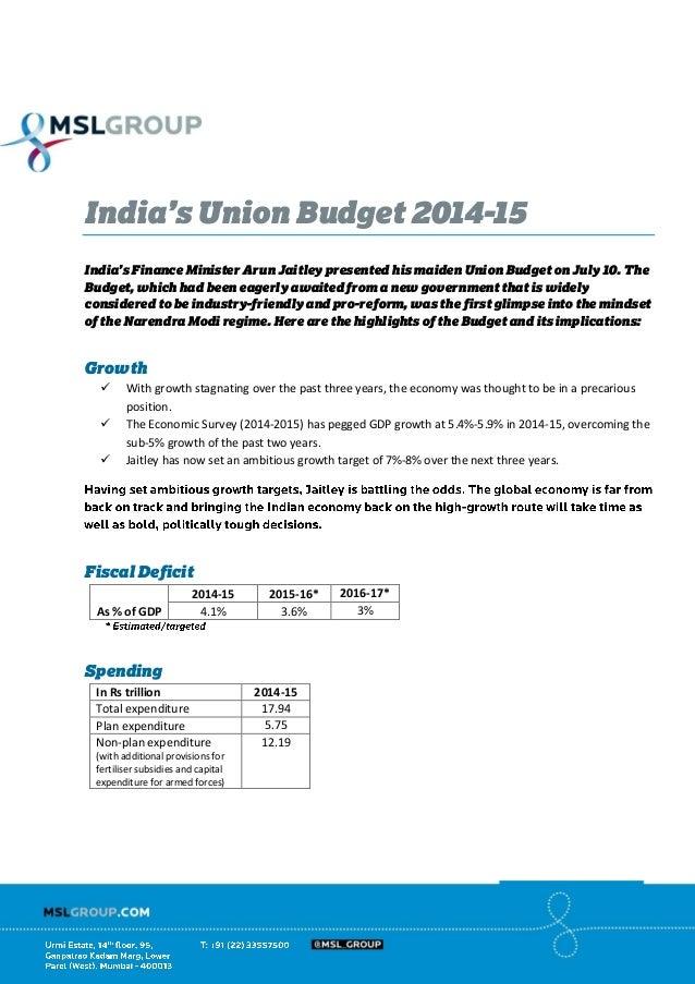 India's Union Budget 2014 - 15