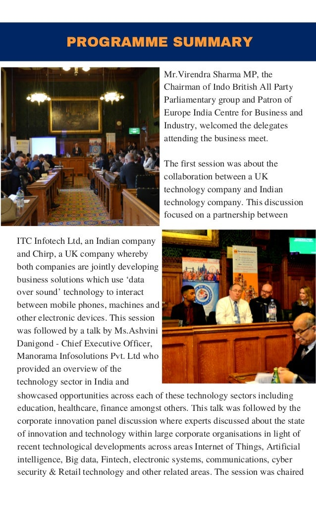 PROGRAMME SUMMARY ITC Infotech Ltd, an Indian company and Chirp, a UK company whereby both companies are jointly developin...